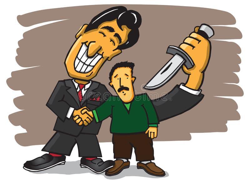 Homem de negócios cortante traseiro ilustração do vetor
