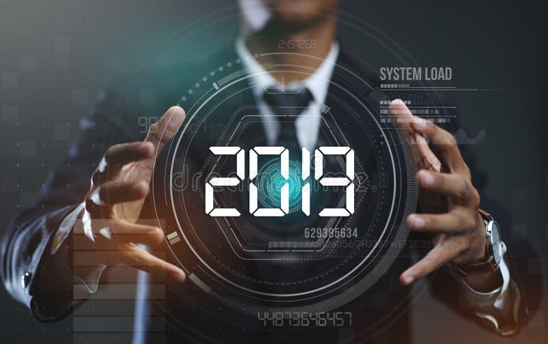Homem de negócios Creating Circle HUD Hologram 2019 imagem de stock royalty free
