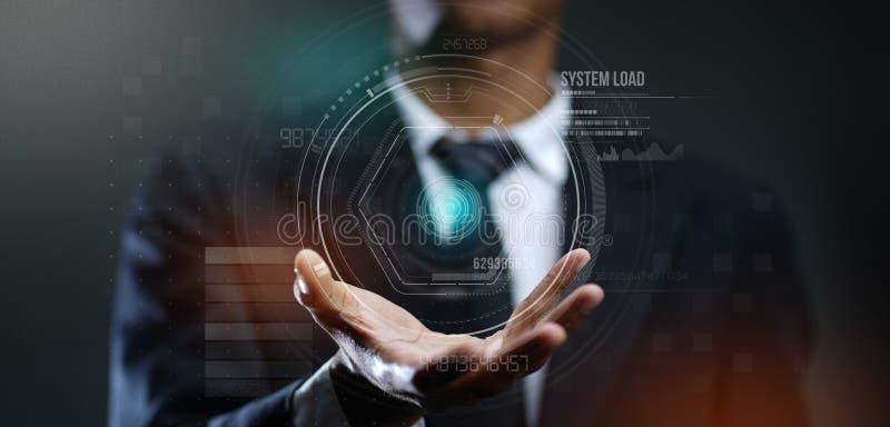 Homem de negócios Creating Futuristic Circle HUD Hologram foto de stock royalty free