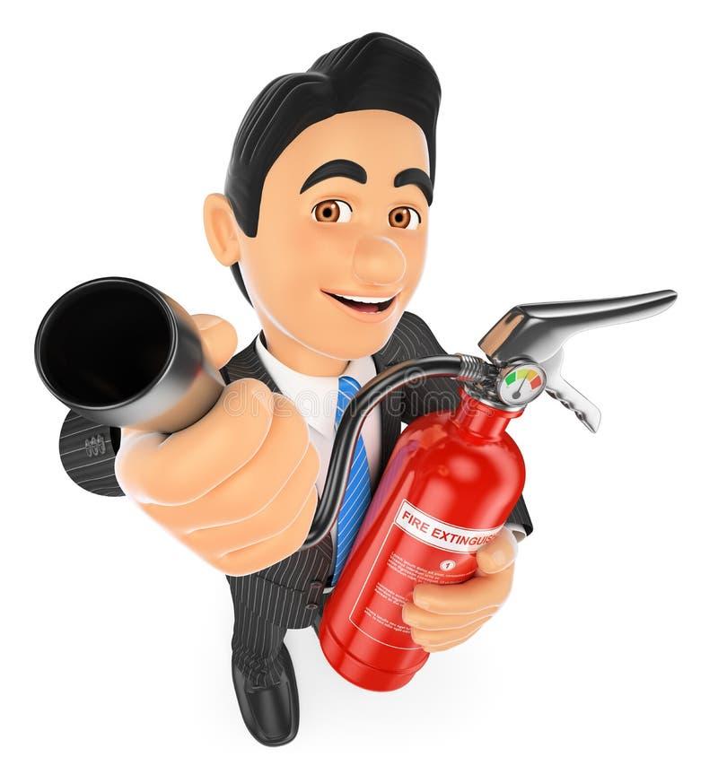homem de negócios 3D com um extintor Risco ocupacional ilustração do vetor