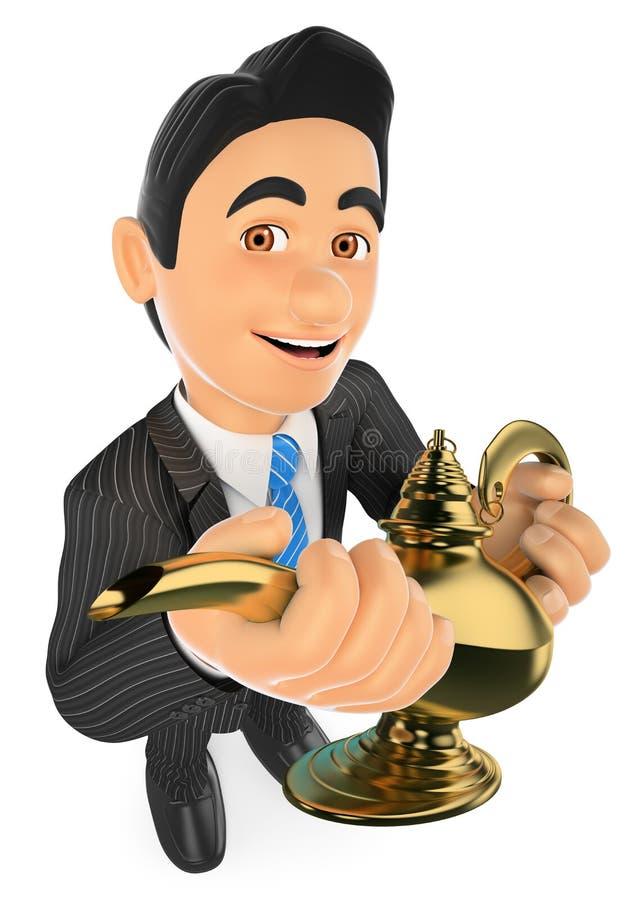 homem de negócios 3D com uma lâmpada maravilhosa Conceito afortunado ilustração royalty free