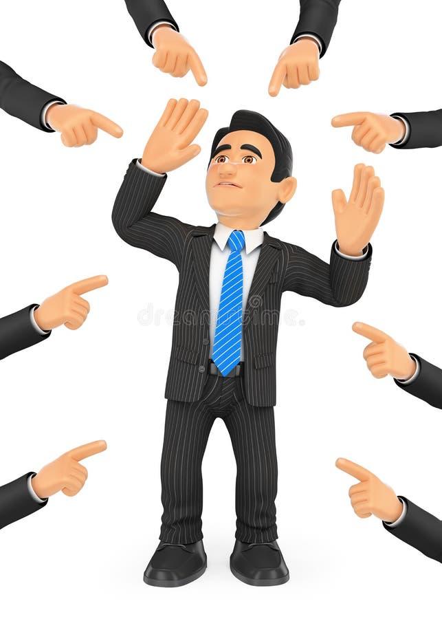 homem de negócios 3D indicado por muitos dedos ilustração do vetor