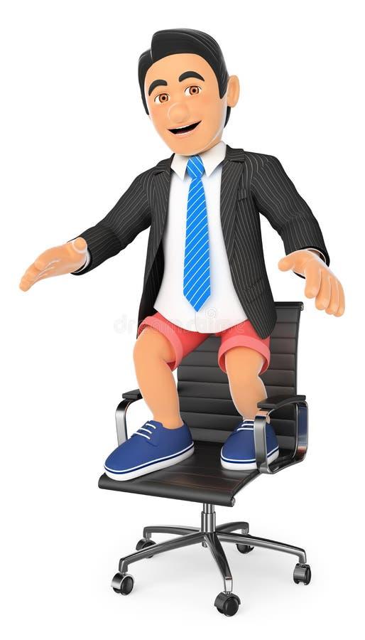 homem de negócios 3D no short em sua cadeira do escritório Conceito dos feriados ilustração royalty free