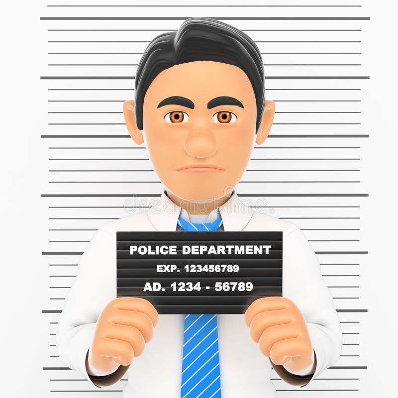 homem de negócios 3D prendido Foto branca da polícia criminosa do colar ilustração stock