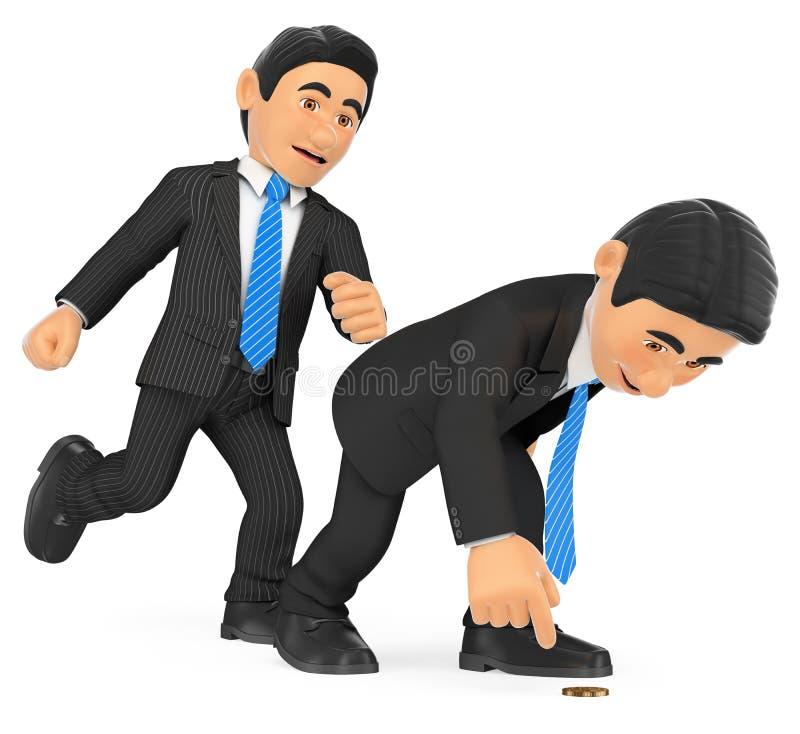 homem de negócios 3D que dá um pontapé dentro a outro que é agachado ilustração stock