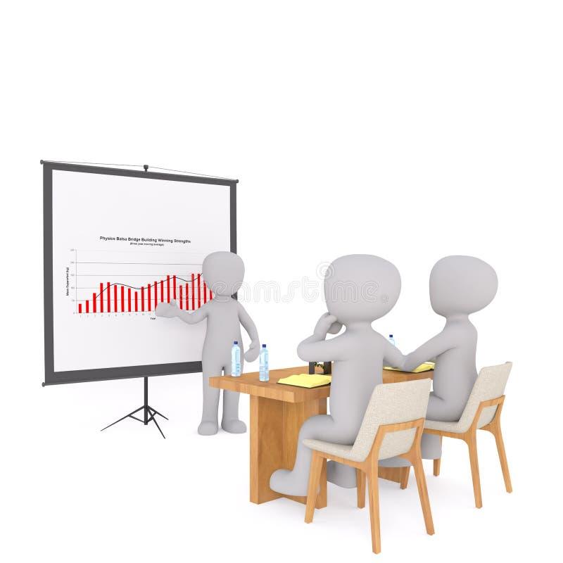 homem de negócios 3d que dá uma apresentação do negócio ilustração stock