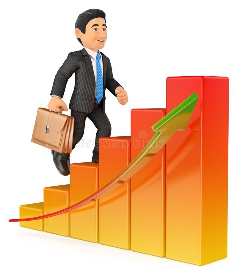 homem de negócios 3D que escala um gráfico de barra ilustração stock