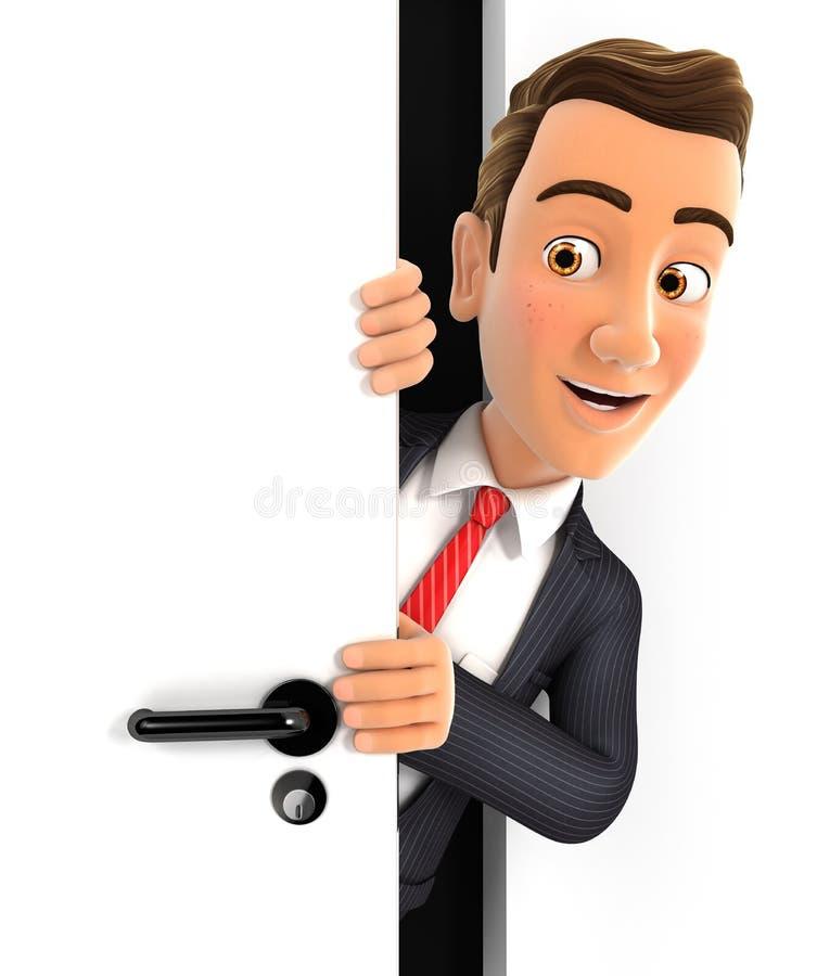 homem de negócios 3d que espreita atrás de uma porta ilustração do vetor
