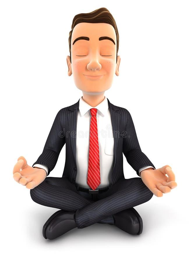 homem de negócios 3d que faz a ioga ilustração do vetor