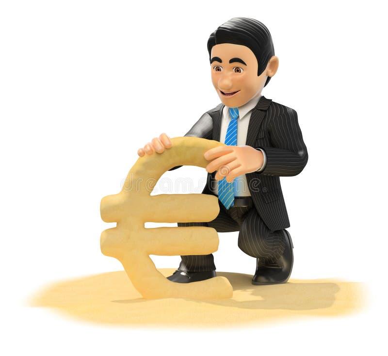 homem de negócios 3D que faz o euro- símbolo com areia da praia ilustração stock