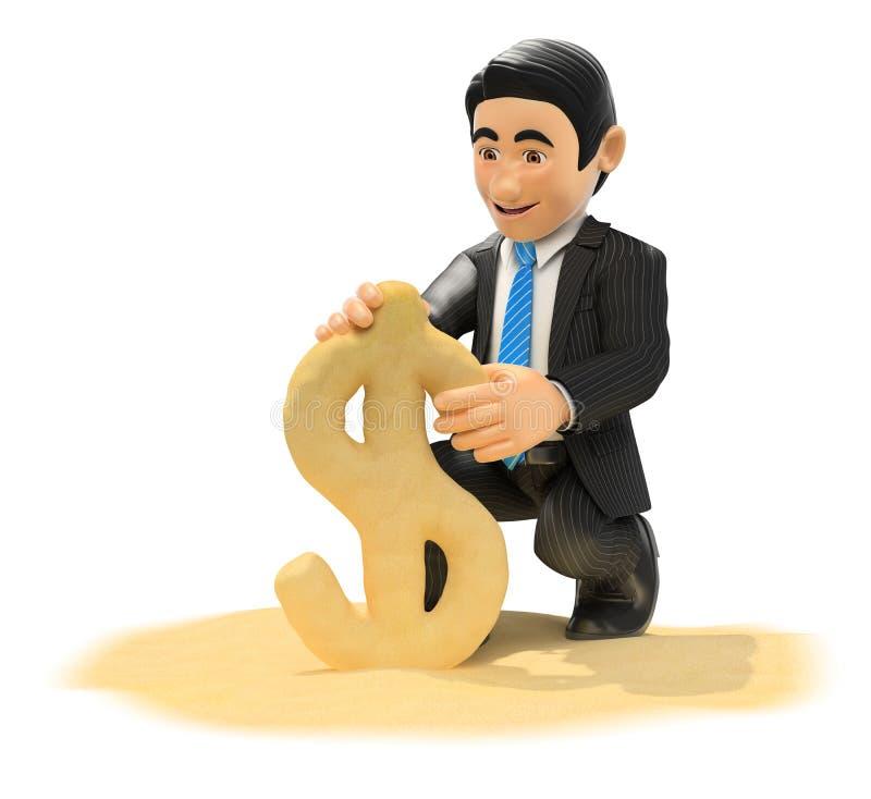 homem de negócios 3D que faz o símbolo do dólar com areia da praia ilustração stock