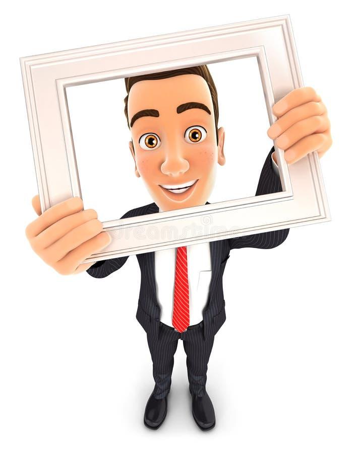 homem de negócios 3d que guarda a moldura para retrato ilustração royalty free