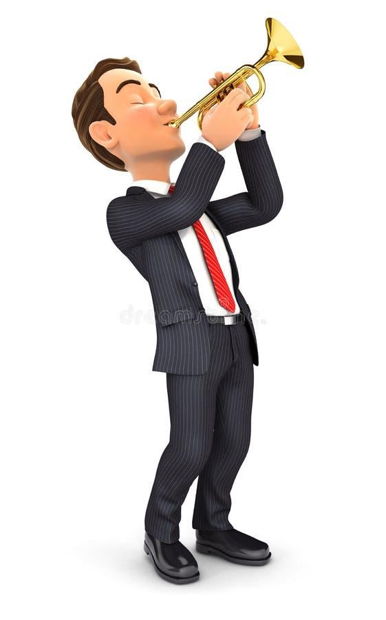homem de negócios 3d que joga a trombeta ilustração royalty free