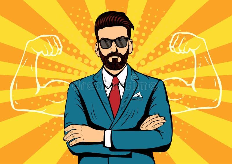 Homem de negócios da barba do moderno com ilustração do pop art dos músculos ilustração stock
