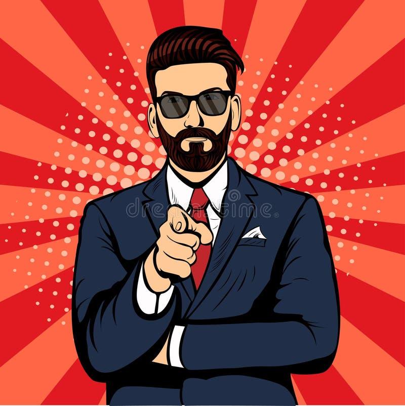 Homem de negócios da barba do moderno que aponta a ilustração retro do vetor do pop art do dedo ilustração do vetor
