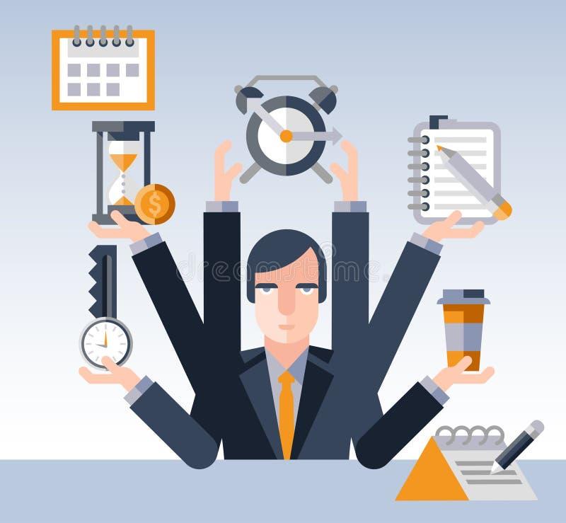 Homem de negócios da gestão de tempo ilustração royalty free