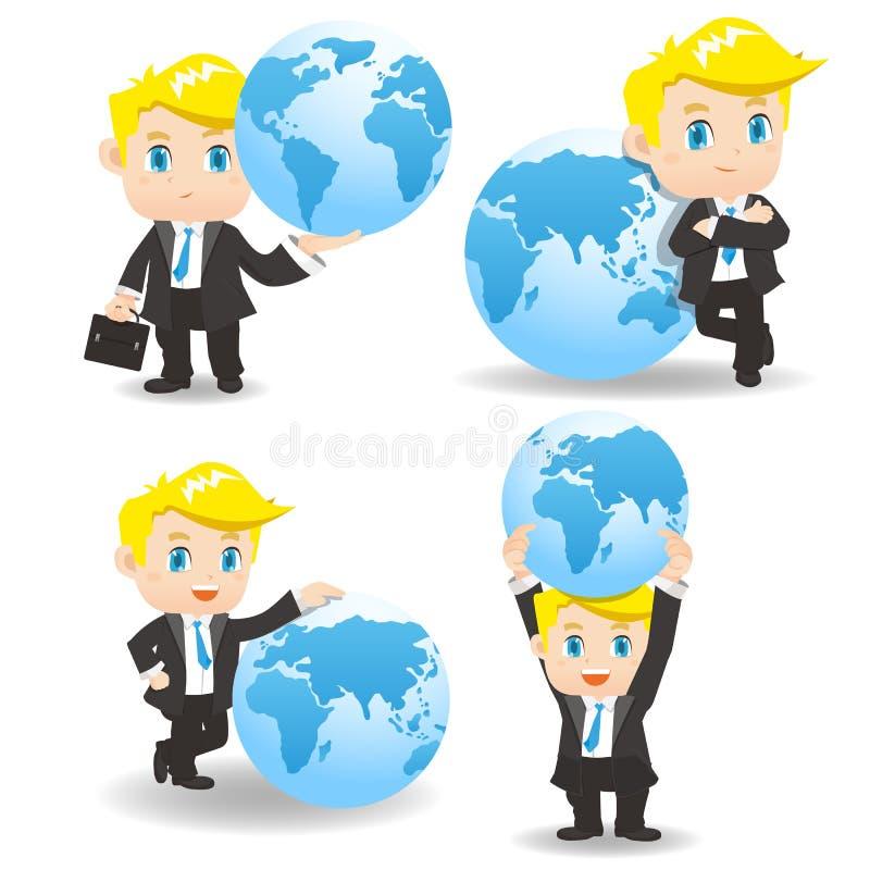 Homem de negócios da ilustração dos desenhos animados com global ilustração stock