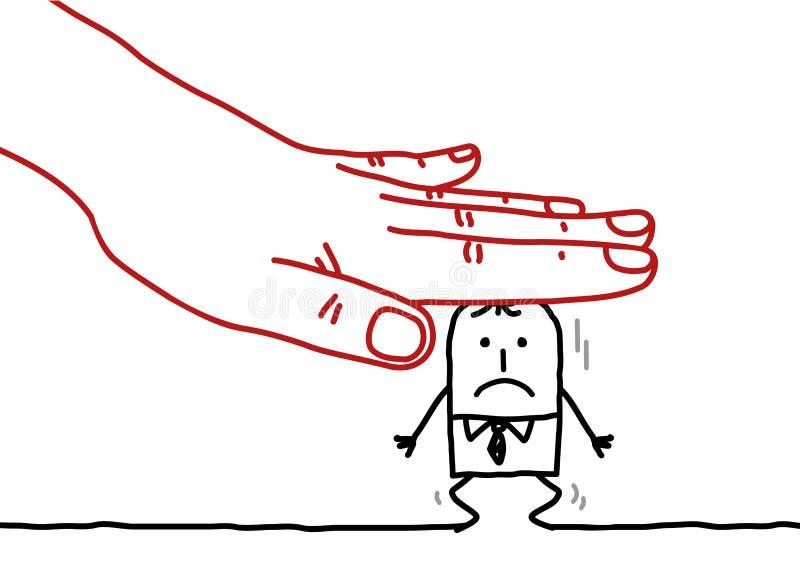 Homem de negócios da mão grande e dos desenhos animados - sob a pressão ilustração do vetor