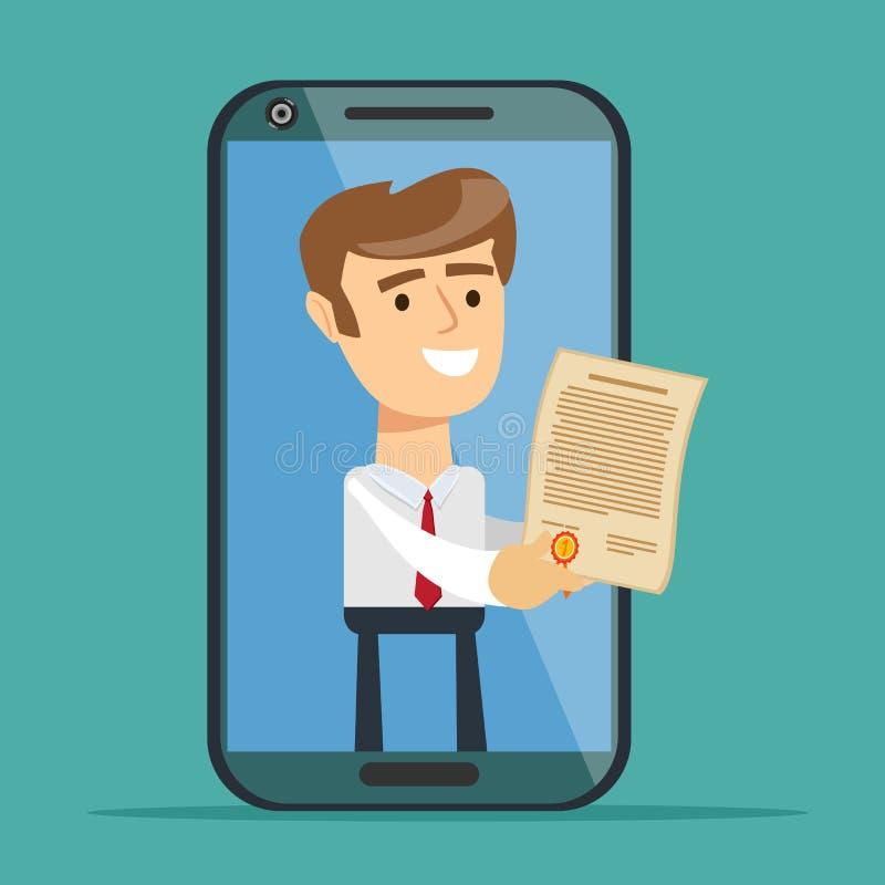Homem de negócios da tela do smartphone que dá o contrato em linha ilustração stock