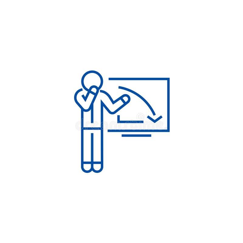 Homem de negócios da virada, gráfico abaixo da linha conceito do ícone Homem de negócios da virada, gráfico abaixo do símbolo lis ilustração do vetor