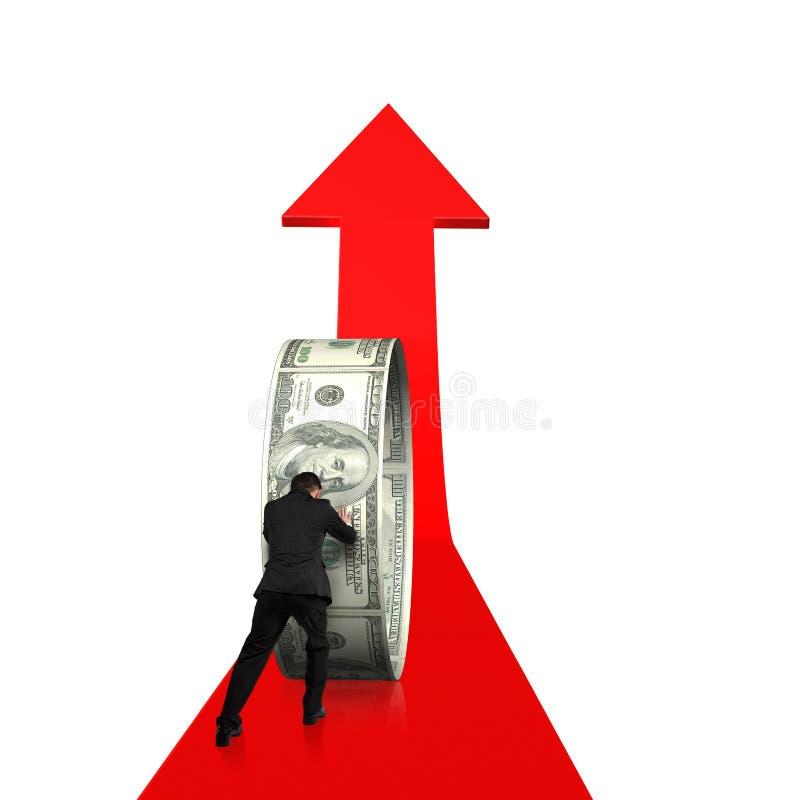 Homem de negócios da vista traseira que empurra o círculo do dinheiro em crescer a seta vermelha imagem de stock
