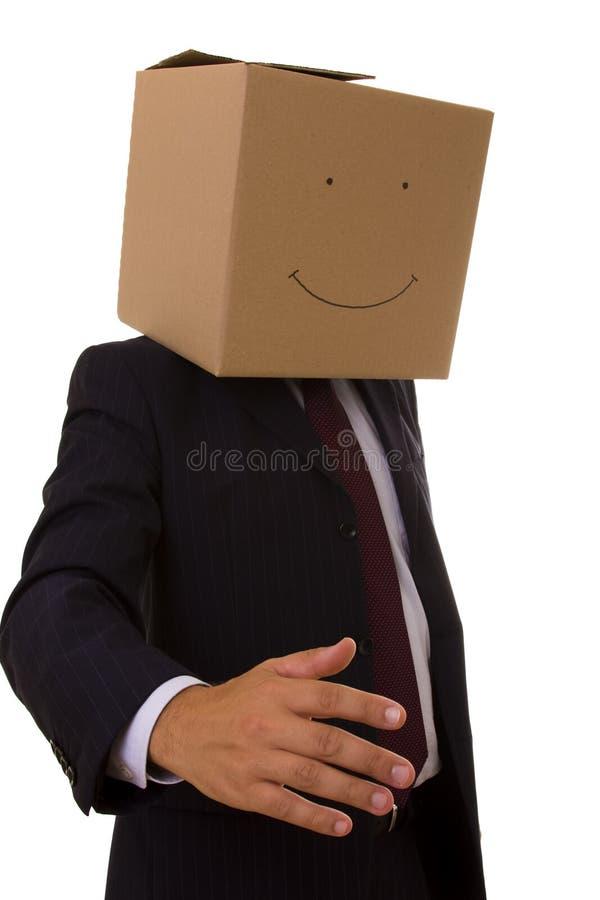 Homem de negócios de Cardboad foto de stock royalty free