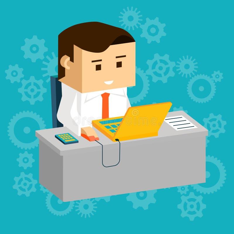 Homem de negócios de Cartooned na tabela de funcionamento com portátil ilustração stock