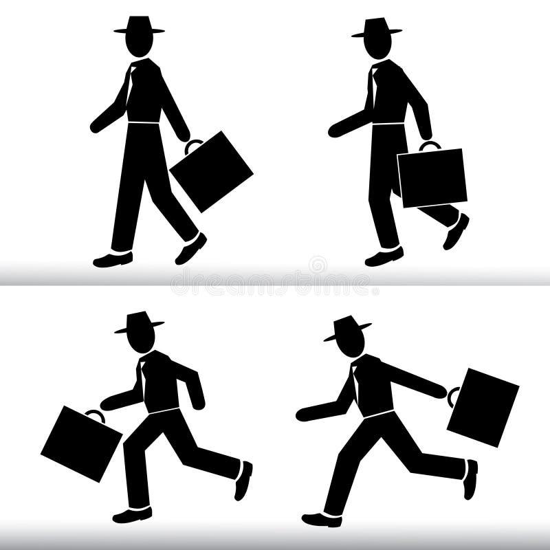 Homem de negócios de passeio e de corrida da silhueta Homens que vestem um chapéu com um grupo do vetor da mala de viagem à dispo ilustração do vetor