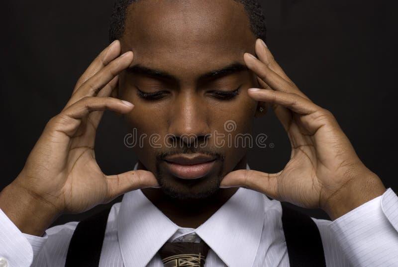 Homem de negócios de pensamento fotografia de stock royalty free