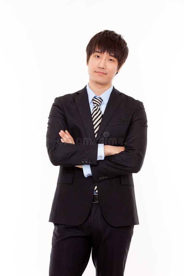 Homem de negócios de pensamento isolado no branco foto de stock
