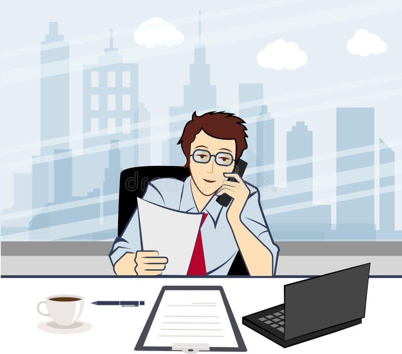Homem de negócios de sorriso considerável que chama pelo telefone em t ilustração do vetor