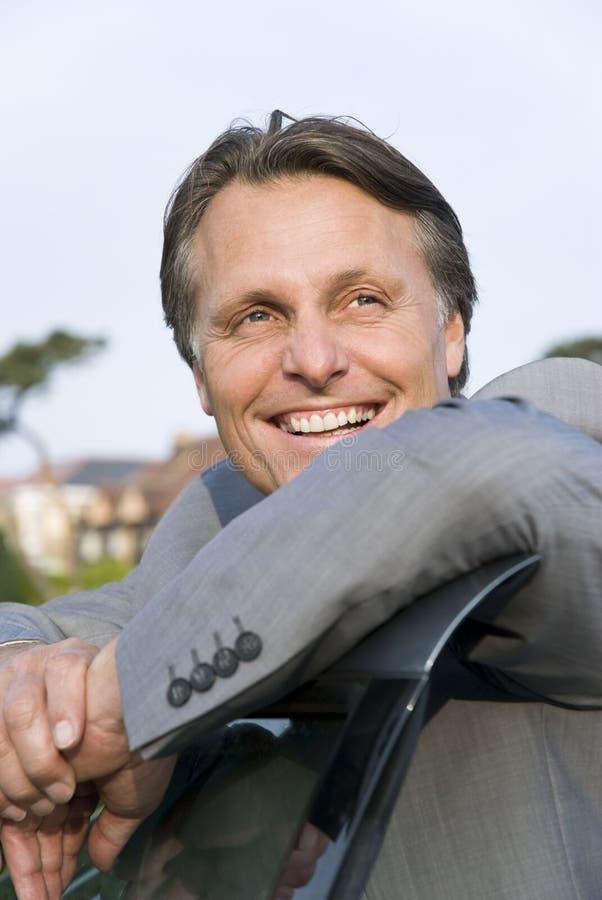 Homem de negócios de sorriso feliz. foto de stock