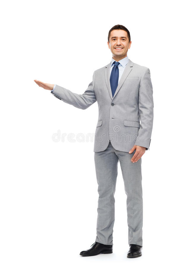Homem de negócios de sorriso feliz no terno fotos de stock royalty free