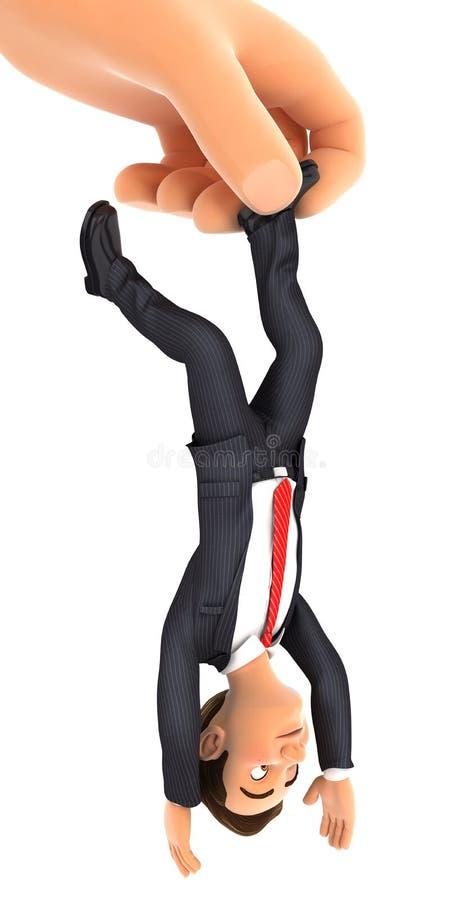homem de negócios de travamento da mão 3d grande pelo pé ilustração do vetor