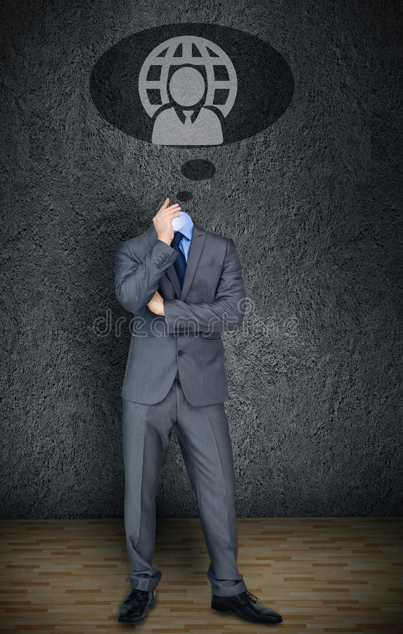 Homem de negócios decapitado com bolha do discurso foto de stock