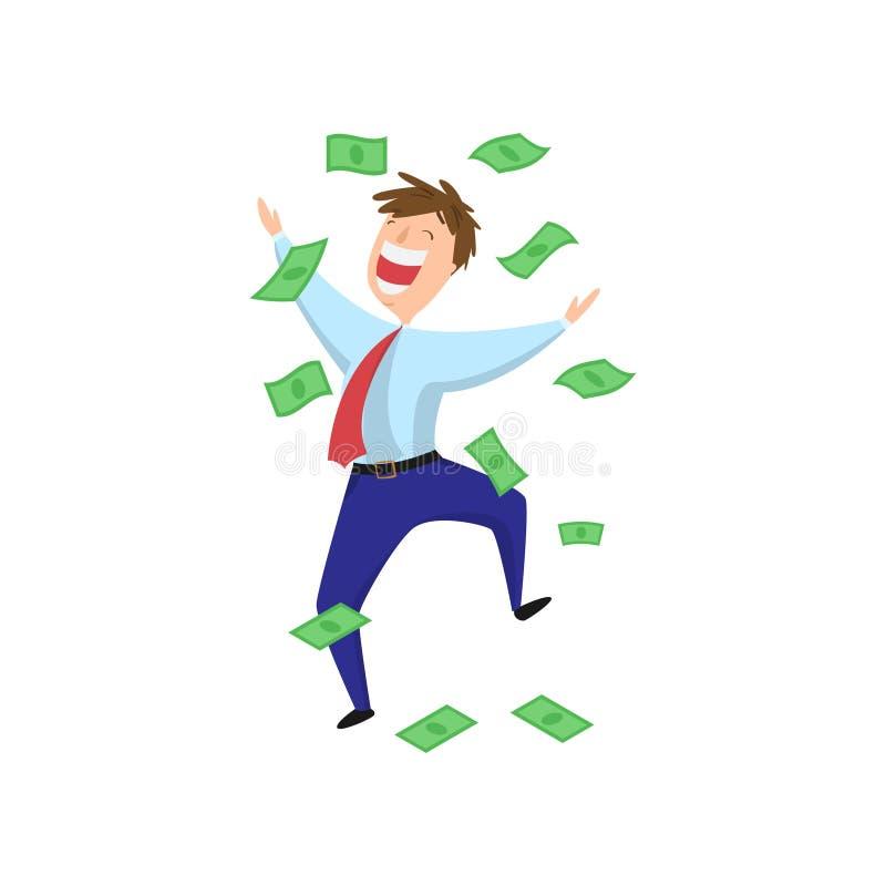 Homem de negócios deleitado, excitado, feliz que salta na chuva do dinheiro ilustração royalty free