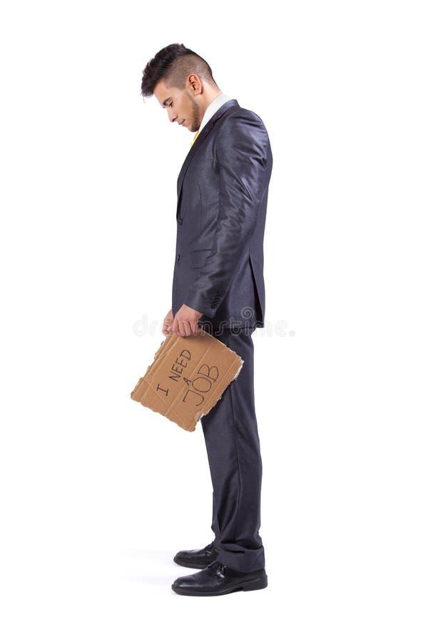 Homem de negócios desempregado que precisa um trabalho imagens de stock royalty free