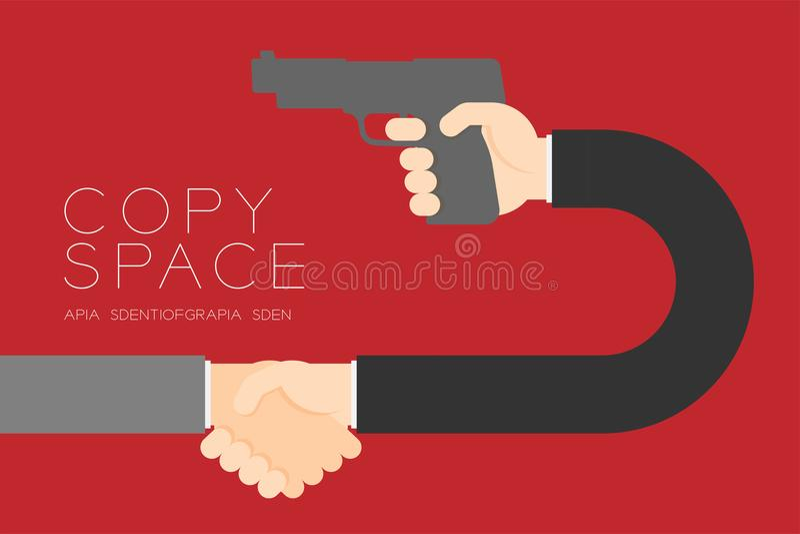 Homem de negócios do aperto de mão com conexão ajustada do sócio comercial da arma ilustração stock
