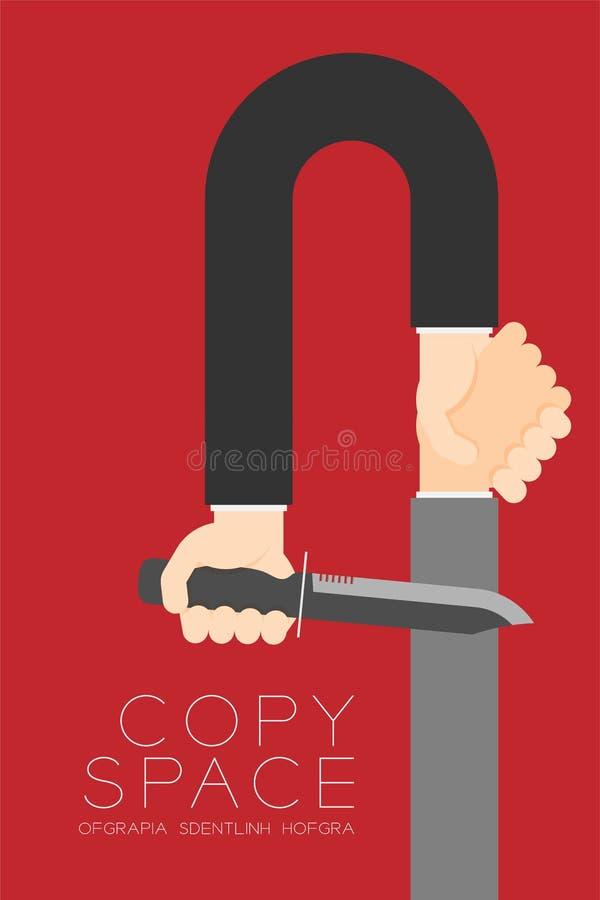 Homem de negócios do aperto de mão com conexão ajustada do sócio comercial da faca ilustração royalty free