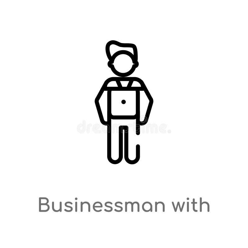 homem de negócios do esboço com ícone do vetor do dinheiro do dólar linha simples preta isolada ilustra??o do elemento do conceit ilustração royalty free