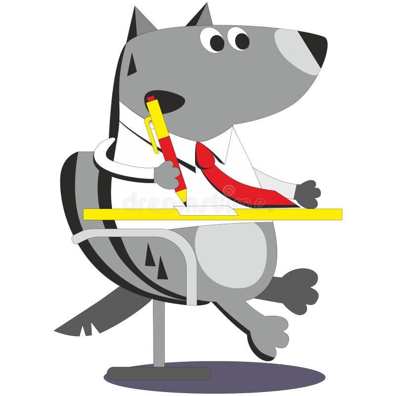 Homem de negócios 05 do lobo dos desenhos animados ilustração stock