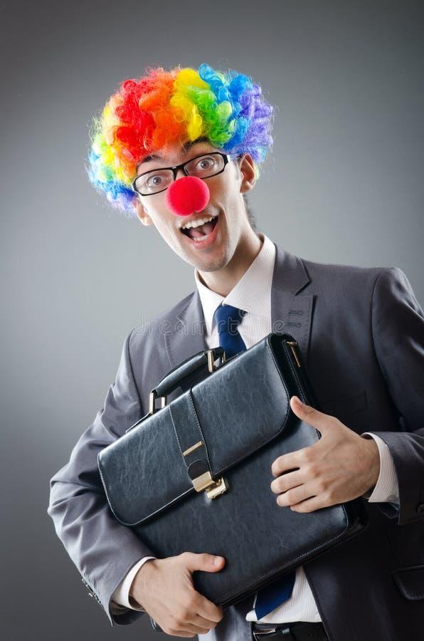 Homem de negócios do palhaço - conceito do negócio engraçado fotografia de stock royalty free