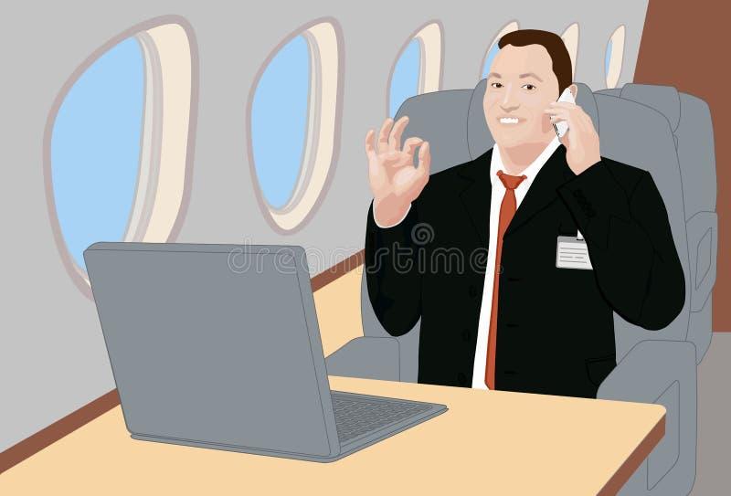 Homem de negócios do sucesso a bordo do jato corporativo ilustração royalty free