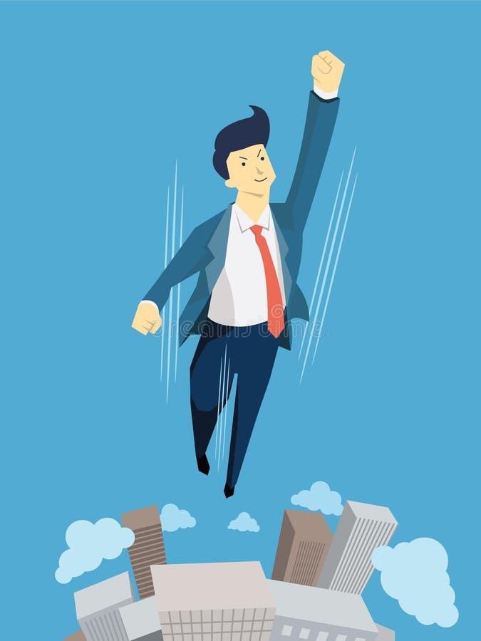Homem de negócios do super-herói ilustração stock