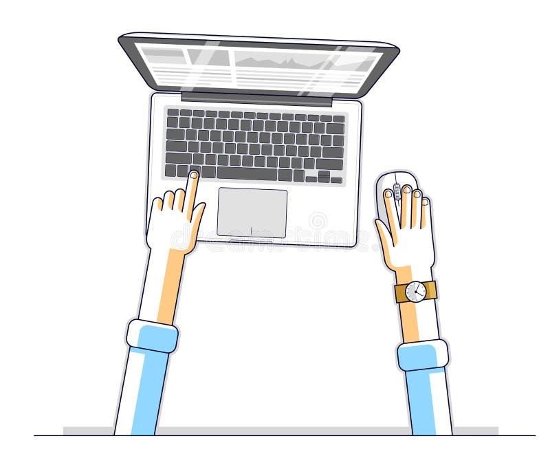 Homem de negócios do trabalhador ou do empresário de escritório que trabalha em um comput do PC ilustração do vetor