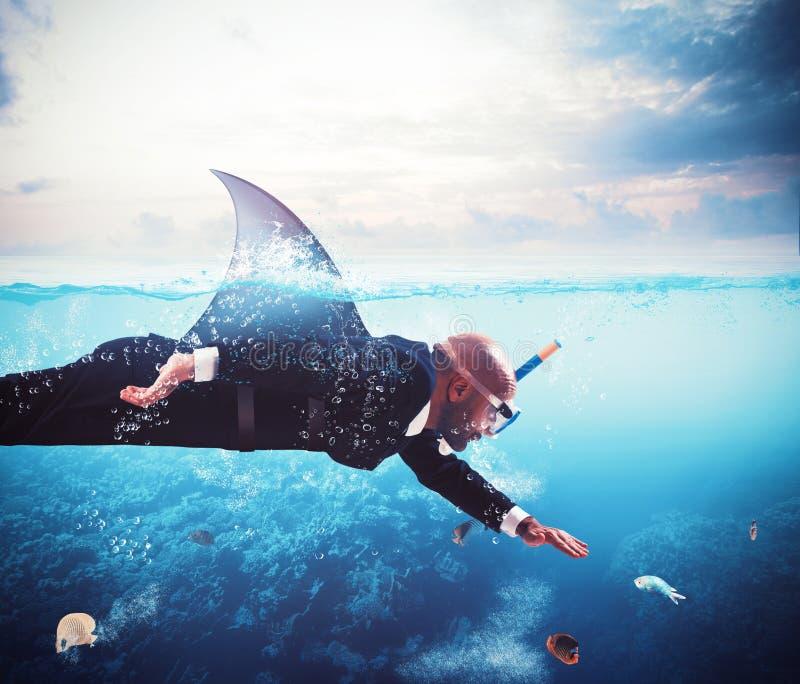 Homem de negócios do tubarão imagens de stock