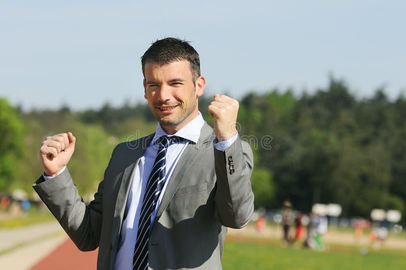 Homem de negócios do vencedor fotografia de stock royalty free