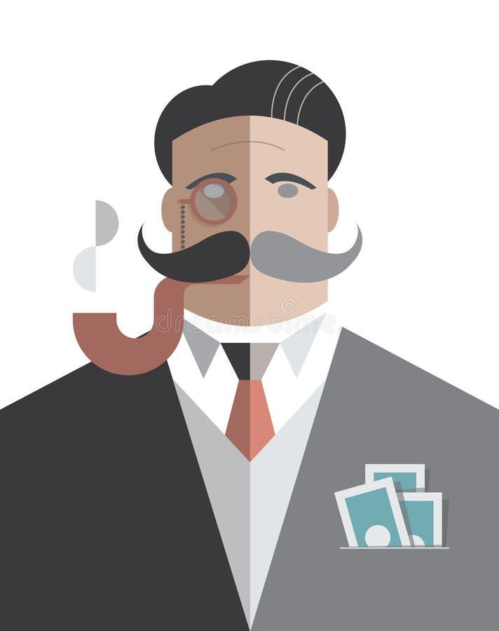 Homem de negócios do vintage com bloco dos dólares no po ilustração royalty free