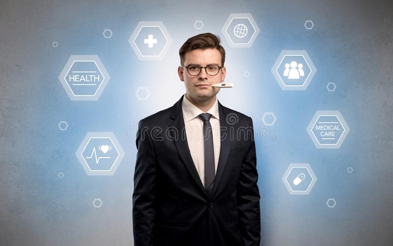 Homem de negócios doente com conceito dos cuidados médicos ilustração do vetor