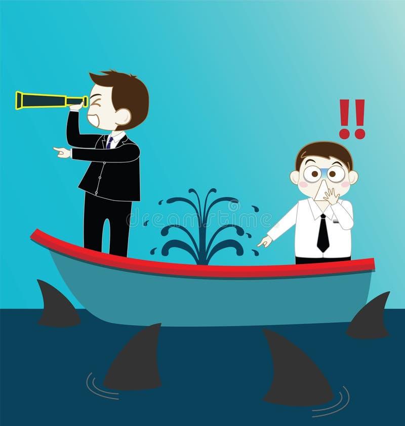 Homem de negócios dois no barco de naufrágio do escape com tubarões ilustração do vetor